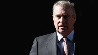 Prince Andrew, Duke of York leaves the headquarters of Crossrail at Canary Wharf