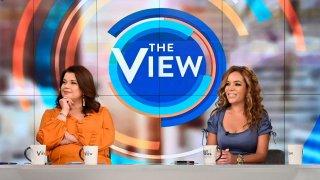 Ana Navarro and Sunny Hostin on the set of ABC's The View.