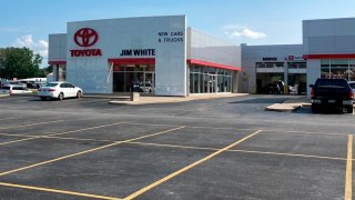 The new car lot at the Jim White Toyota just outside of Toledo, Ohio