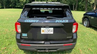 Anne Arundel County police car shattered rear windshield