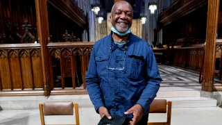 Artist Kerry James Marshall has been selected to design a replacement of former Confederate-themed stained glass windows that were taken down in 2017 at the National Cathedral in Washington, Sept. 23, 2021.