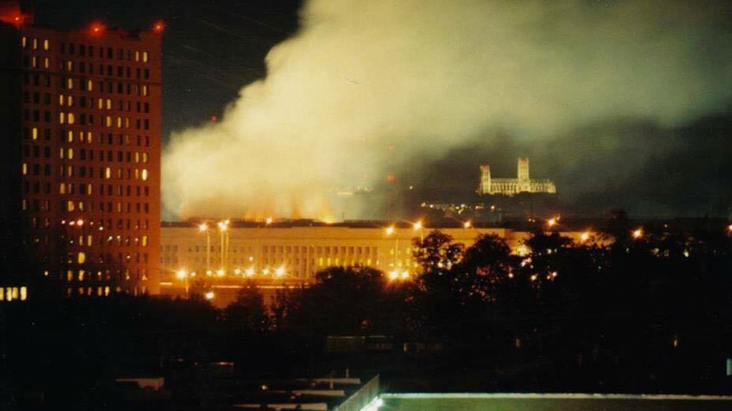 View of the Pentagon the night of Sept. 11, 2001.