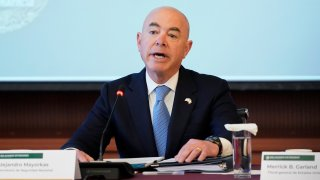 Secretary of Homeland Security Alejandro Mayorkas speaks during a U.S.-Mexico High Level Security Dialogue at the Mexican Ministry of Foreign Affairs, Friday, Oct. 8, 2021, in Mexico City.