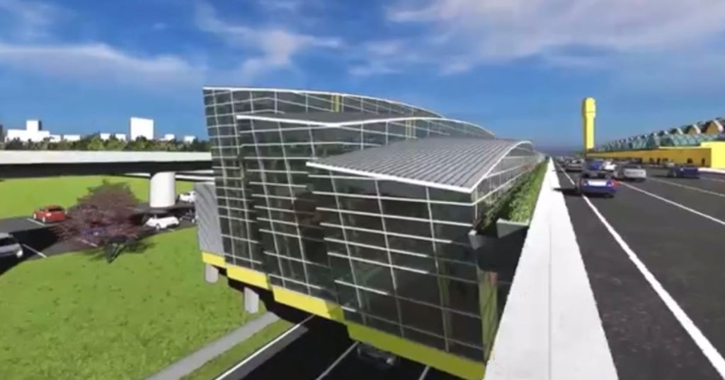 A rendering shows the exterior of a new structure at National Airport that will house expanded security checkpoints.