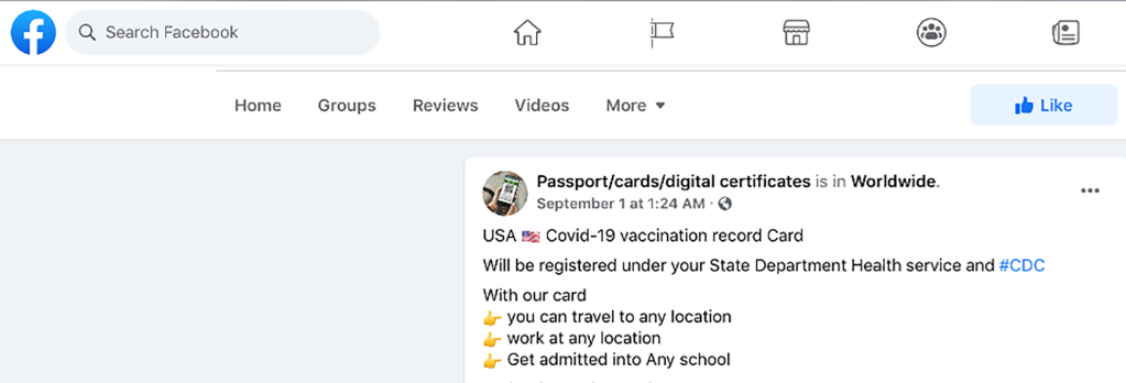 A Facebook post offering a fake vaccination card and promising state registration