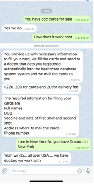 A text message offers a fake vaccination card and promises state registration
