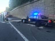 Car Slams Into Maryland State Police Cruiser, Catches Fire