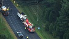 Georgetown Pike Closed After Dump Truck Overturns