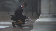 Tomb of Unknowns Guards Uphold Tradition in Severe Downpour