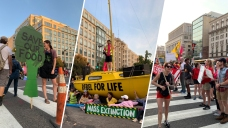 Photos: With Banners and a Boat, Activists Block DC Streets