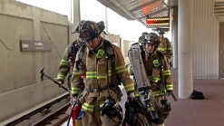 Emergency Workers Train for Smoke in Metro Tunnel Situations