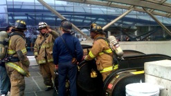 Piece From Metro Train Falls Onto Third Rail