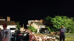Possible Tornado Damages Homes in Md.