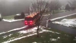 Caught on Camera: School Bus Slides Down Icy Road