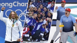 Feb. 22 Olympics Photos: US Wins Hockey, Advances in Curling