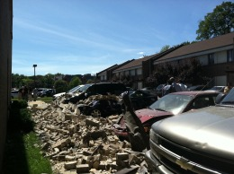 Cars Damaged by Collapsed Wall in Vienna