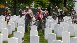 Soldiers Place 230K US Flags at Arlington Cemetery