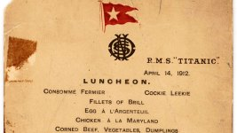 Titanic's Last Lunch Menu, Saved by Survivor, Going to Auction