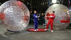 WATCH: Statham, Fallon Race in Hamster Balls