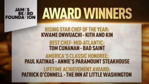 DC Restaurants, Chefs Win Prestigious James Beard Awards