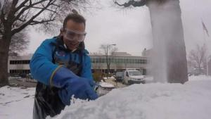 Tommy McFly Learns to Carve Ice Ahead of Leesburg Festival