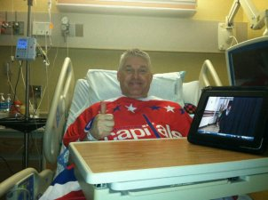Laughlin Rocks Red in Hospital Bed