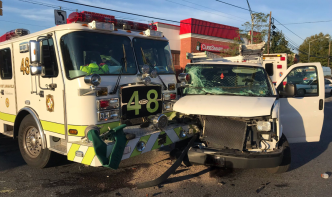 3 Firefighters Taken to Hospital After Crash With Van in Md.