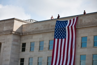 Flag Unfurled at Pentagon on 9/11