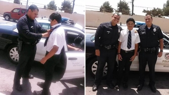 Police Officers Pull Over to Help With Teen's Tie