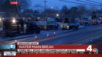 Broken Water Main Floods Veirs Mill Road in Silver Spring