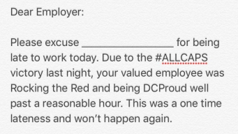 A Tardy Note for Caps Fans Running Late to Work