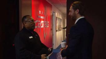 Larry the Doorman Puts a Smile on Caps Players' Faces