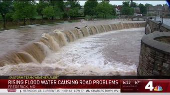 Rising Flood Water Causing Road Problems in Frederick