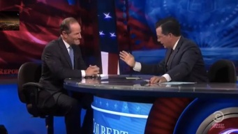 Colbert Grills Spitzer Over His Political Ambitions