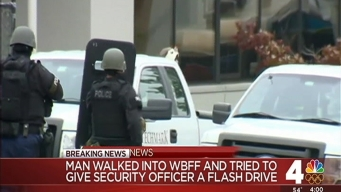 Robot Circling Suspect Shot Outside TV Station