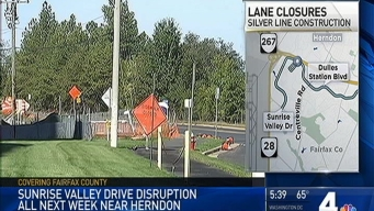Sunrise Valley Drive Down to One Lane Near Herndon for Construction