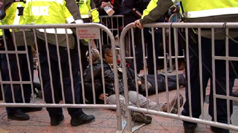 Protesters Block Inauguration Ticket Line in Downtown DC
