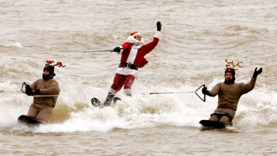 Water-Skiing Santa at National Harbor