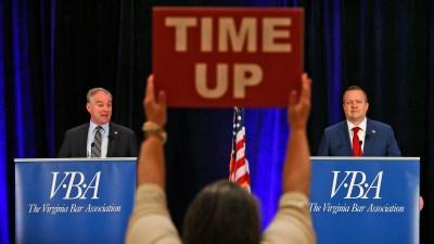 Kaine and Stewart Spar Over President Trump in First Debate