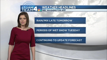 Storm Team 4 Meteorologist Amelia Segal talks about the potential for wintry weather and a messy commute Tuesday morning.