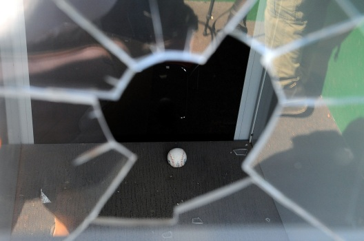 Harper's Foul Ball Breaks Glass