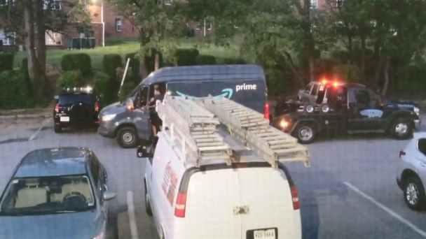 Amazon Delivery Van Towed During Stop at Virginia Apartments