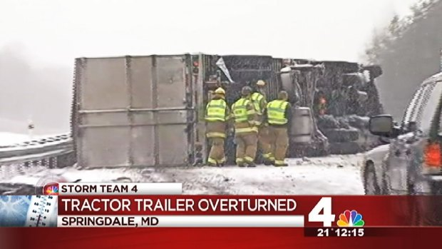 [DC] Tractor Trailer Overturns in Snow on Route 50
