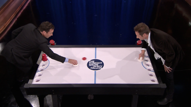 [NATL] David Duchovny, Jimmy Fallon Play Beer Hockey