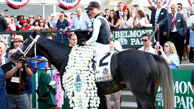 Tapwrit beats Irish War Cry to win Belmont Stakes