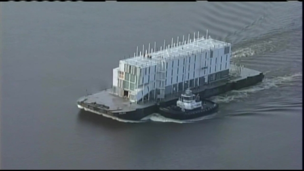 [BAY] RAW VIDEO: Google Barge Leaves Treasure Island for Stockton