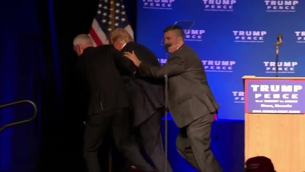 Donald Trump briefly rushed off stage by Secret Service at Nevada rally