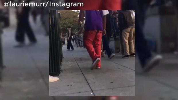 RAW: Skateboarders Speed Down Sidewalk at SF Street Rally
