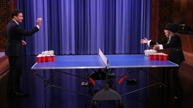 "[NATL] Jimmy Fallon Plays Beer Pong With Diane Keaton on ""The Tonight Show"""