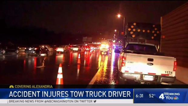 Tow Truck Driver Loses Leg After Car Hits Him on I-395